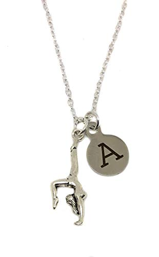 m Gymnast Tumbling Charm Initial Charm Silver Finished Necklace, 18