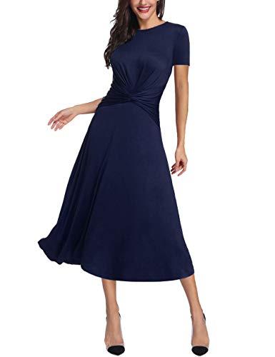 Azalosie Women's Tummy Control Dress Round Neck Short Sleeve Midi Semiformal Casual Party Fit Flare Maxi Dress