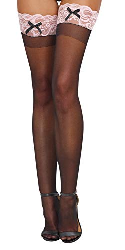 c1d209a1358 Dreamgirl Women s Sheer Thigh-High Stockings with Contrast Lace and ...