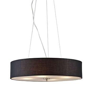 Design qazqa, modern lampadario in drum 50 rotondo nero, vetro ...