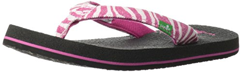 Sanuk Kids Yoga Wildlife Girls Flip Flop ,Fuchsia Zebra,3/4