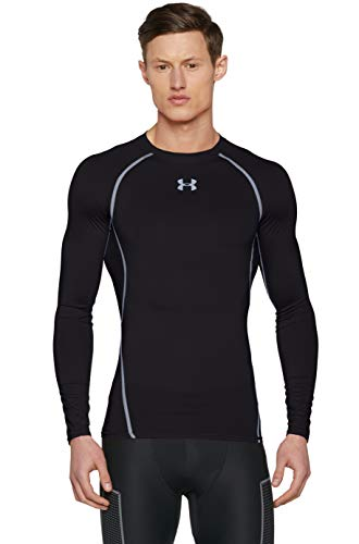 Under Armour HG ARMOUR Men's Long-Sleeve Shirt, Black / Steel (001), Medium
