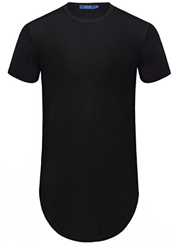 Aiyino Men's Hipster Hip Hop Short Sleeve T-Shirt With Zipper Trim US Large Black by Aiyino