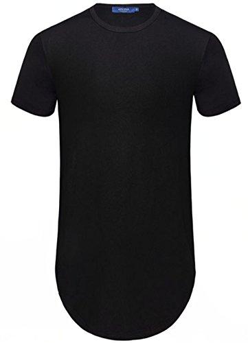 Aiyino Men's Hipster Hip Hop Short Sleeve T-shirt With Zipper Trim US 2XL - Men Hipster Black