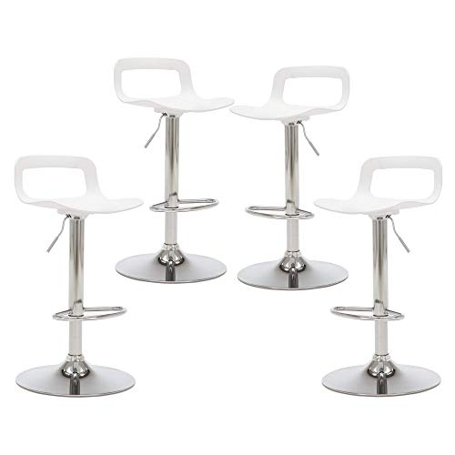 THKSBOUGHT Set of 4 Modern Bar Stools Plastic Adjustable Counter Height Swivel Stool Matte White