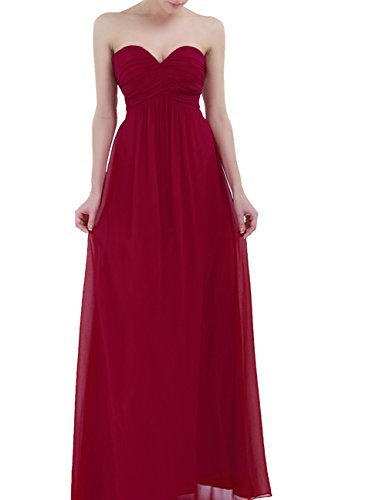 (YiZYiF Sweetheart Bridesmaid Chiffon Prom Dresses Strapless Long Evening Gowns Burgundy 14)