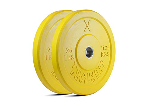 X Training Equipment 25lb Color Bumper Plate Pair Solid Rubber with Steel Insert - Great for Crossfit Workouts - (2 X 25 lb Pound Yellow Plates)