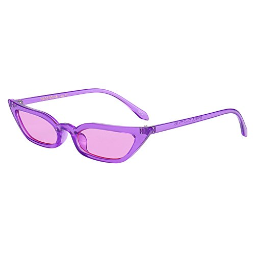 WOWSUN Vintage Sex Cat Eye Sunglasses Candy Color Clout Goggles for Women - Plastic Eyeglass Oval Frames
