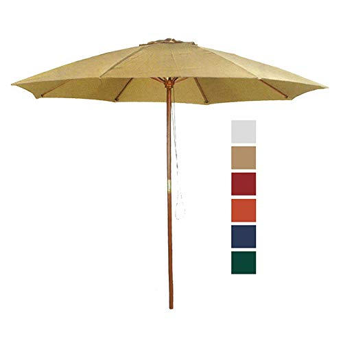 (9' Taupe Patio Umbrella - Outdoor Wooden Market Umbrella Product SKU: UB58024)