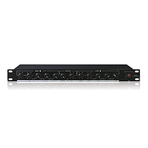 Technical Pro XO3 3 Way Crossover with Subwoofer Output, 20Hz-25kHz 1dB Frequency Response, Black