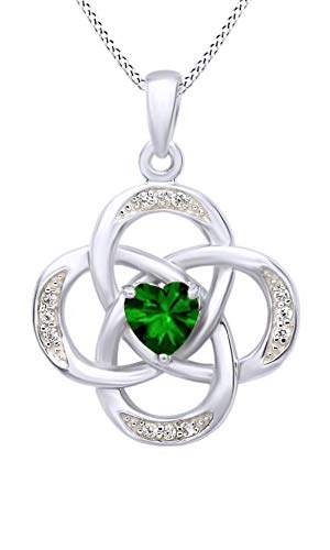AFFY Celtic Knot Simulated Emerald Pendant Necklace in 14k White Gold Over Sterling Silver W/Chain -