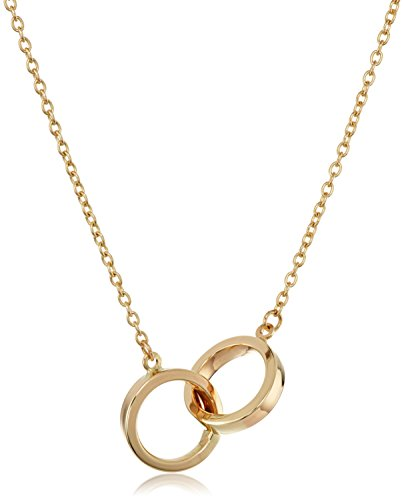 14k Yellow Gold Two Circles Adjustable Pendant Necklace, 17