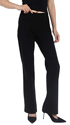 Foucome Dress Pants for Women-Slim or Bootcut Stretch High Waist Trousers with All Day Comfort Pull On Style Black