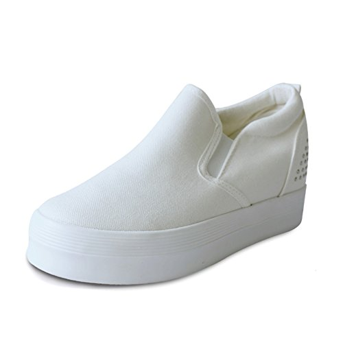 El aumento en los zapatos de lona en verano y otoño gruesa corteza del mollete/ mocasines casuales del pie de la mujer A
