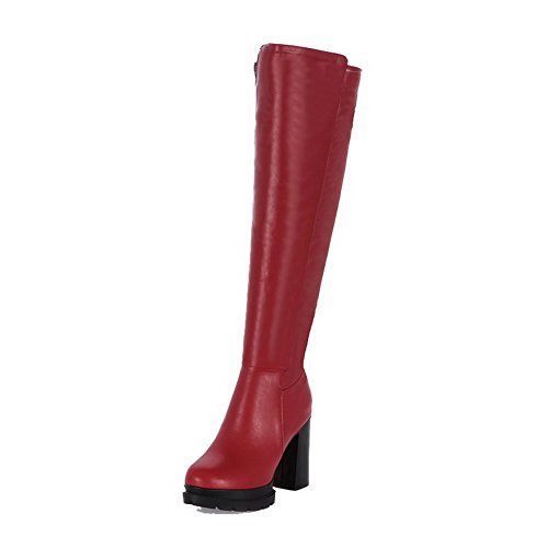 AllhqFashion Womens Soft Leather Round Closed Toe Solid High-top High-Heels Boots Red cih6vt
