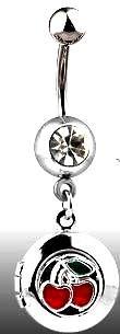 Body Accentz trade; Belly Button Ring Navel Cherry Locket Body Jewelry 14 Gauge