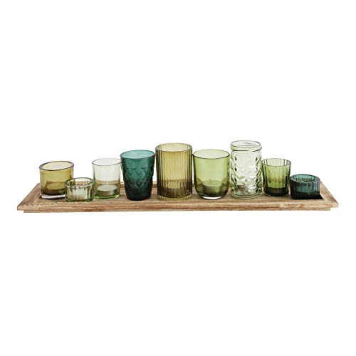 Creative Co-op Wood Tray with 9 Unique Glass Votive Canlde Holders, Earthy - Tray Green Glass