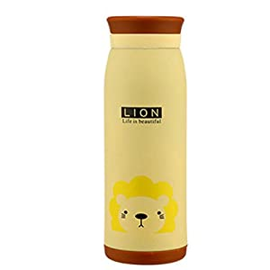DICOCO Stainless Steel 500ml Cartoon Animals Thermos Bottle Warmer Water Cup (Beige lion)