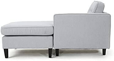 GDF Studio 301844_New Windsor Two Piece Sectional Sofa Mid Century Danish  Scandinavian Design (Light Grey),