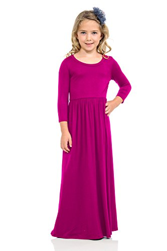 Pastel by Vivienne Honey Vanilla Girls' Fit and Flare Maxi Dress Small 5-6 Years Hot Pink -