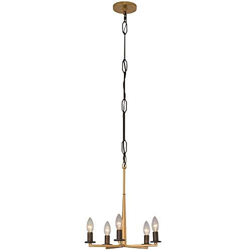 - Rogue Décor 610440 Elwood 5-Light Chandelier - Antique Gold with Rustic Bronze Accent