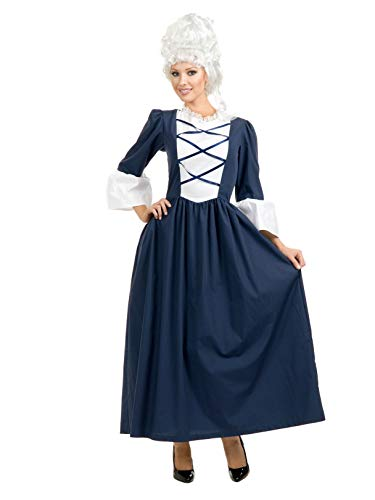 Charades Women's Colonial Lady Full Length Dress, Navy/White, Small