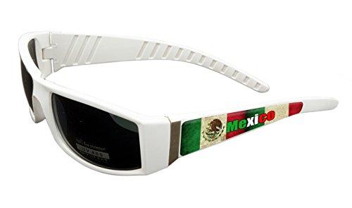 Mexico Design White Frame/Black Lens 60mm Sunglasses Item # - Mexico Sunglasses