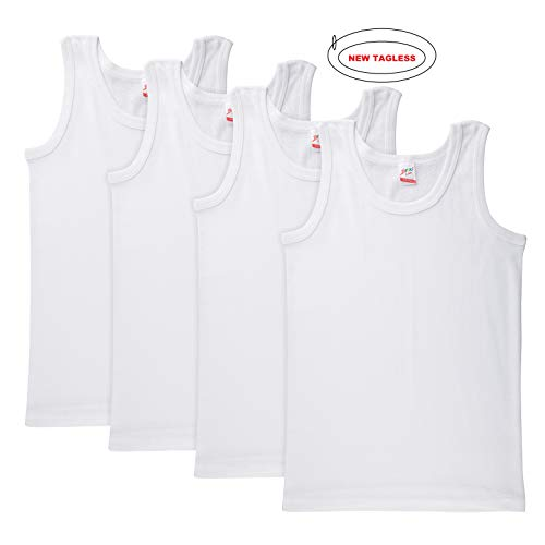 Brix Boys' White Tank 100% Cotton - Super Soft Undershirts 4-Pack Tank Tops. (14/16 Years, White Tagless)