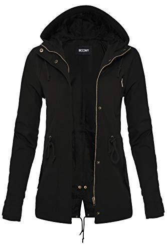 FASHION BOOMY Womens Zip Up Safari Military Anorak Jacket W/Hood (Small, Black)