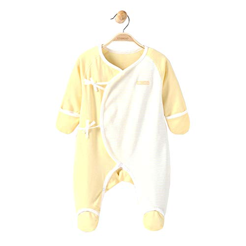 - COBROO 100% Cotton Baby Girl Footies with Mitten Cuffs Solid Color with Stripe Long Sleeves Baby Sleepers for 0-3 Months Yellow