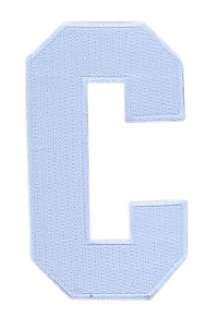 Hockey Style Patch WHITE C Patch (Captain) Iron On for Jersey Football, Baseball. Soccer, Hockey, Lacrosse, Basketball ()