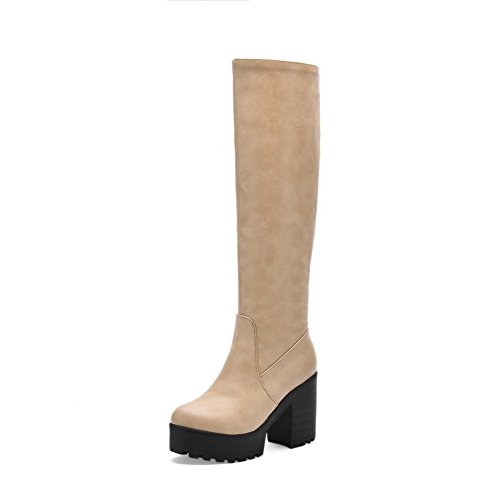 Allhqfashion Women's Soft Material Zipper Round Closed Toe High-Heels High-Top Boots Apricot qzxG3q