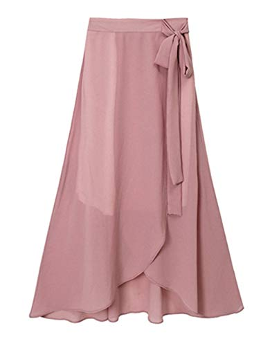 chouyatou Women's Lovely Bow-Knot Waist Stretched Flare Tulip Jersey Long Skirts (XX-Large, Chiffon Pink)