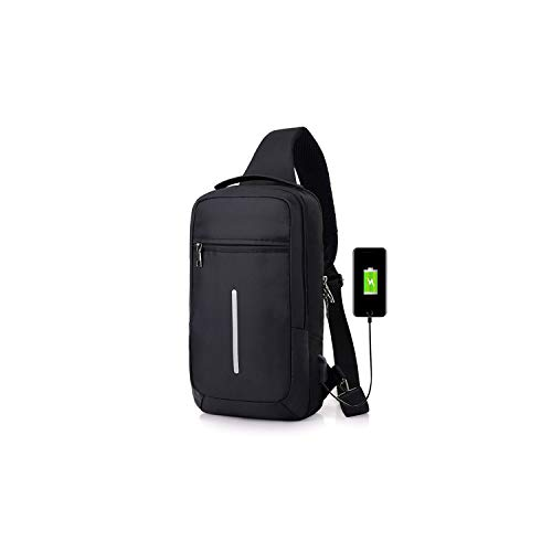 Casual Sling Nylon Chest Bag Men USB Charging One Shoulder Short Trip Bag Crossbody Single Anti Theft -