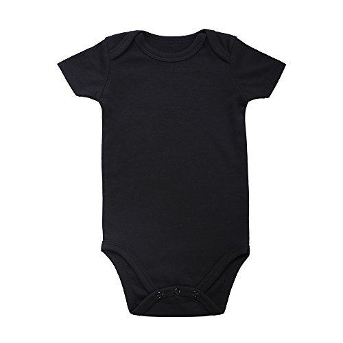 Romperinbox Unisex Solid Black Baby Bodysuit 0-24 Months (0-3 months, black)