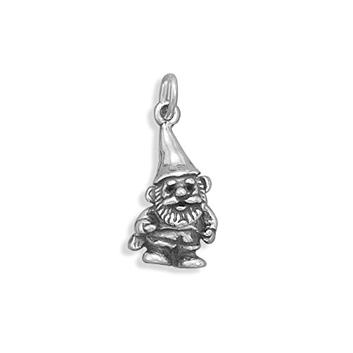 Garden Gnome Charm 3-D Sterling Silver