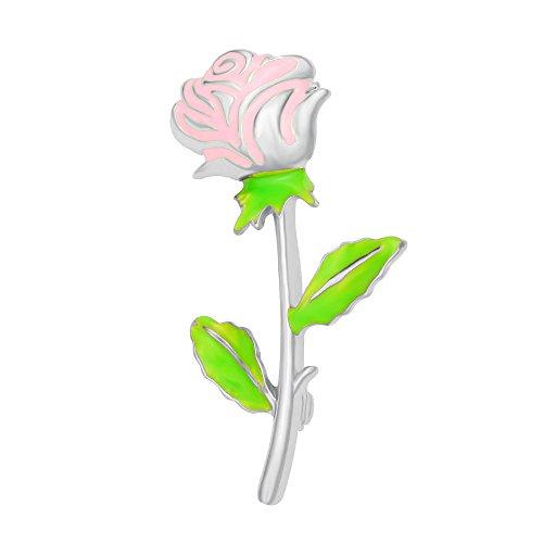 SENFAI Pink Enamel Rose Fancy Filigree Brooch Lapel Pin Glow in Dark(Silver)