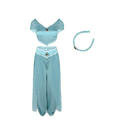 Woman Cosplay Aladdin Jasmine Princess Belly Dance Anime Party Halloween Fancy Sequin Dress Suit Light Blue