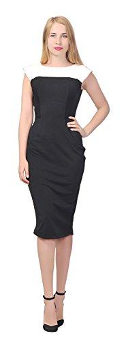[Marycrafts Women's Colorblock Sheath Midi Dress Office Coctail Work 22 Black] (Womens Ponte Sheath Dress)