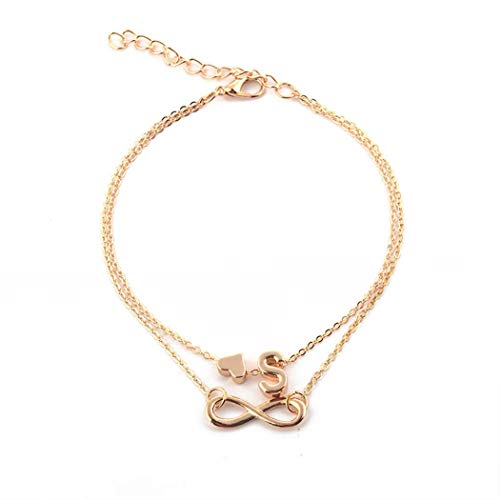 Wekold Women Fashion Multi-Layered Letter Heart Shape Anklet Jewelry Gift Anklets from wekold