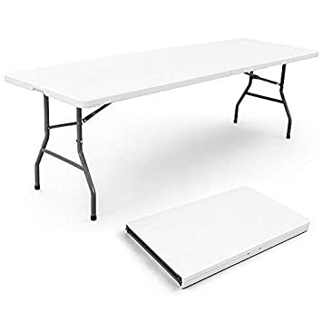 Vispronet Resin Multipurpose Rectangle Table – Center Folding with Locking Legs 8-Feet