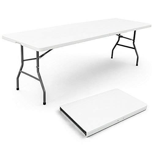 Vispronet Resin Multipurpose Rectangle Table – Center Folding with Locking Legs 8-Feet