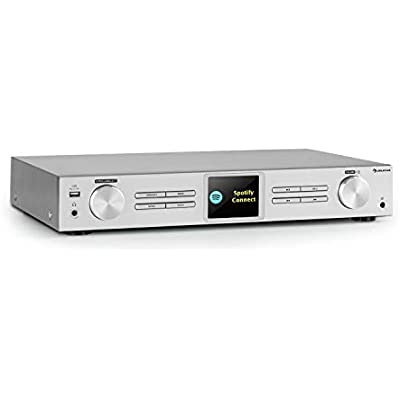 AUNA iTuner 320 Digital HiFi Tuner with Bluetooth and WLAN  Spotify Connect  Internet Radio  DAB and Tuner  DLNA UPnP  USB  Network Media Player  HCC Display  Remote Control  Silver