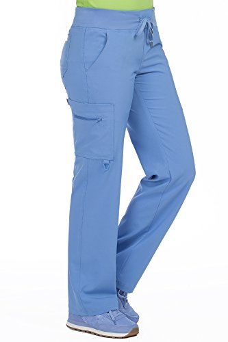 Med Couture Scrub Pants Women, Yoga Cargo Pocket Scrub Pant, X-Small Tall, Ceil from Med Couture