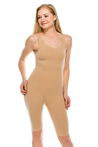 The Classic Womens Catsuit Cotton Stretch Knee Length Active One Piece Footed Jumpsuti (2XL, Natural) (Stretch Piece One)