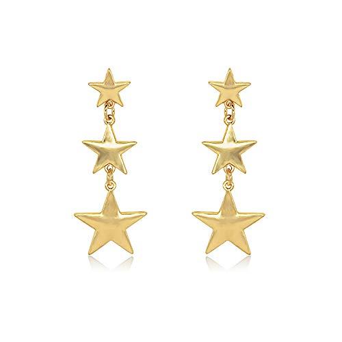 Bracet Shining Lucky Layered Star Tassel Ear Stud Dangle Earrings (Gold)