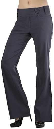 ToBeInStyle Women's High Waist Boot-Cut Dress Pants - Charcoal - Medium