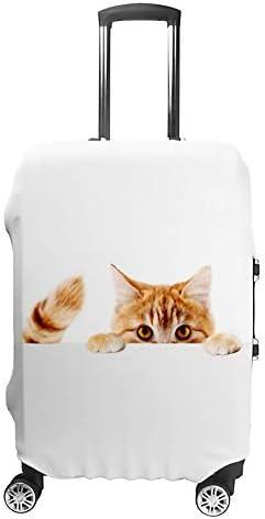 スーツケースカバー 伸縮素材 トランク カバー 洗える 汚れ防止 キズ保護 盗難防止 キャリーカバー おしゃれ 面白いペットの猫 ポリエステル 海外旅行 見つけやすい 着脱簡単 1枚入り