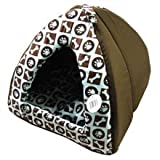 35cm Brown/Light Blue Pet Bed Condo Tent House for Small Dog or Cat by paws2claws