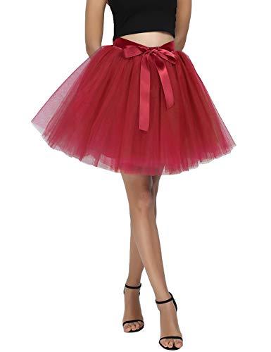 Red Tutu Halloween City (Women's High Waist Princess Tulle Skirt Adult A-line Dance Tutu Wedding Short Party Prom Skirt Red)